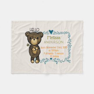 Cobertor De Velo Urso de ursinho com nascimento floral azul do bebê