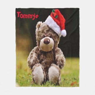 Cobertor De Velo Urso do Natal com Monagram