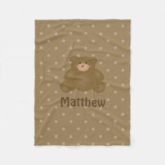 Cobertor De Velo Urso e bolinhas de ursinho peluches bonito do bebê