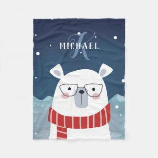 Cobertor De Velo Urso polar com óculos | Monogrammed