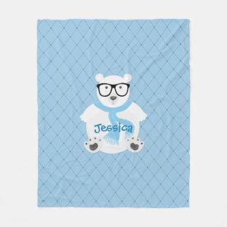 Cobertor De Velo Urso polar do hipster com lenço azul, olhar