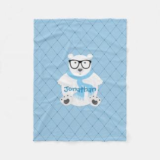 Cobertor De Velo Urso polar do hipster no lenço azul, olhar