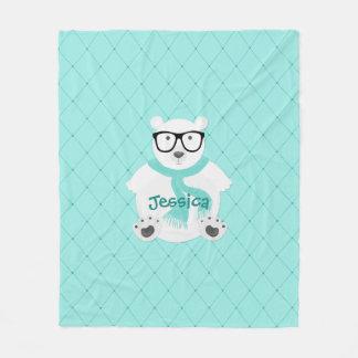 Cobertor De Velo Urso polar do hipster no lenço da cerceta - olhar