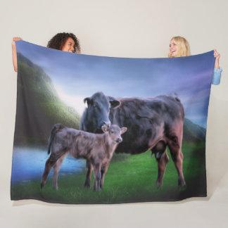 Cobertor De Velo Vaca e vitela pretas de Angus