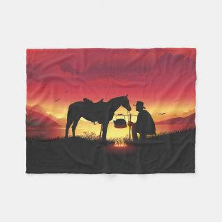 Cobertor De Velo Vaqueiro e cavalo na cobertura pequena do velo do