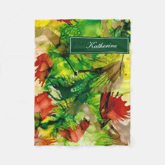 Cobertor De Velo Verde dramático do abstrato das tintas