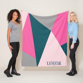 Cobertor De Velo Verde esmeralda pastel geométrico elegante de rosa
