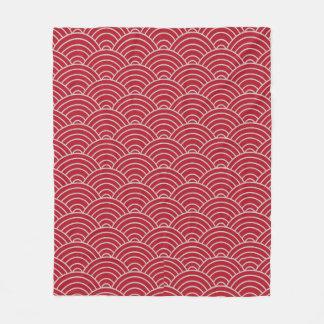 Cobertor De Velo Vermelho carmesim e Taupe de teste padrão de onda