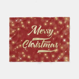 Cobertor De Velo Vermelho do ouro de Bokeh do brilho do Feliz Natal