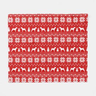 Cobertor De Velo Vermelho do teste padrão do Natal das silhuetas de
