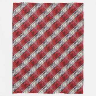 Cobertor De Velo Vermelho e listras Textured cinzas