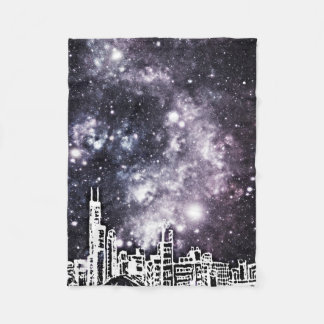 Cobertor De Velo Via Láctea cómica preto e branco da skyline da