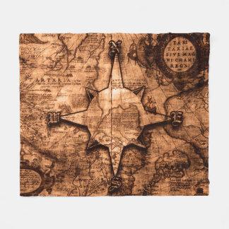Cobertor De Velo Viajante de mundo antigo - rosa do mapa & de