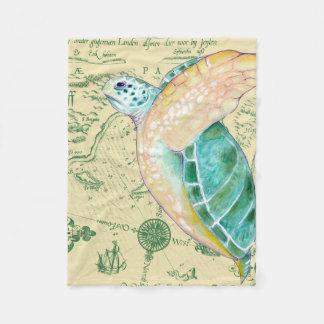 Cobertor De Velo Vintage do mapa de Tan da tartaruga de mar