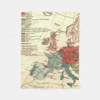 Cobertor De Velo Vintage europeu do mapa do continente