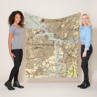Cobertor De Velo Vintage Norfolk & Portsmouth Virgínia Mapa (1944)