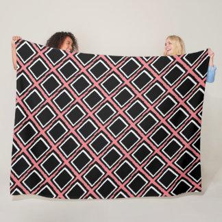 Cobertor De Velo W abstrato moderno dos blocos da cor, o preto & o
