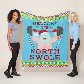 Cobertor De Velo Weightlifter engraçado de Papai Noel Swole do