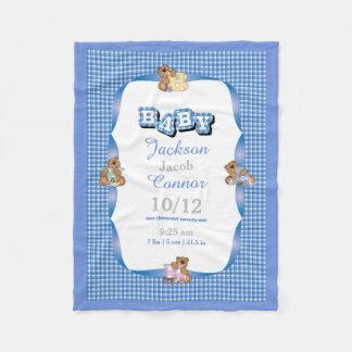 Cobertor De Velo Xadrez azul do país com ursos do bebê