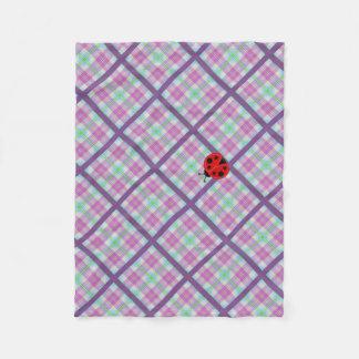 Cobertor De Velo Xadrez cor-de-rosa e roxa com senhora Desinsetar