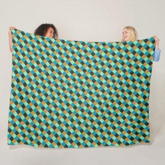 Cobertor De Velo Xadrez do azul do verde da cerceta do ocre de