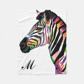 Cobertor De Velo Zebra colorida do pop art Monogrammed