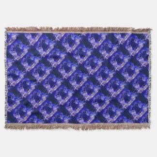 Cobertor design azul do fractal da chita