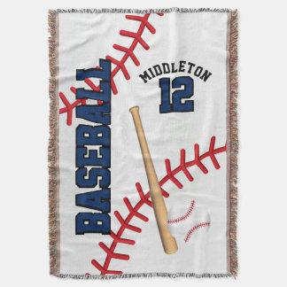 Cobertor Design da bola do esporte do basebol - azul