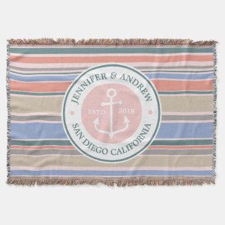 Cobertor Do rosa na moda das listras do monograma da âncora