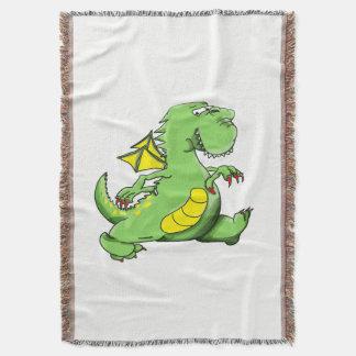 Cobertor Dragão verde dos desenhos animados que anda em