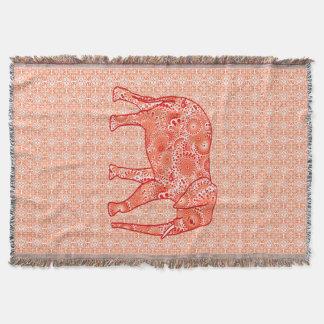 Cobertor Elefante do redemoinho do Fractal, laranja coral e