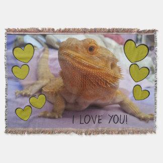 Cobertor EU TE AMO dragão farpado bonito e corações