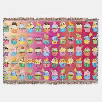 Cobertor Faça a seu próprio monograma dos cupcakes deleites