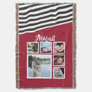 Cobertor Faça seu próprio original listrado vermelho