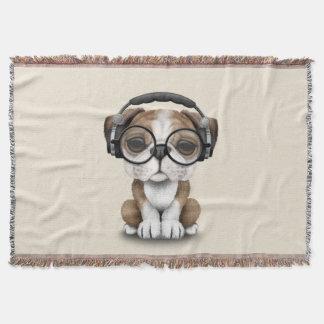 Cobertor Filhote de cachorro bonito DJ do buldogue que