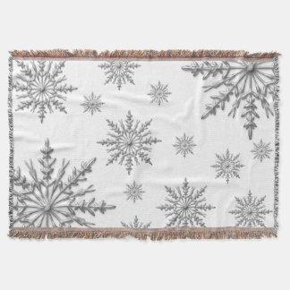 Cobertor Flocos de neve de prata do inverno no branco