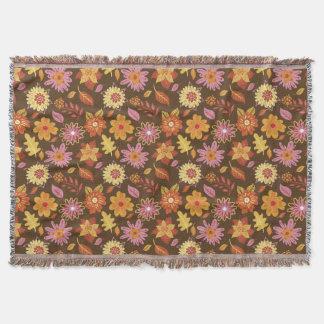 Cobertor Florido Marrom e Amarelo Flores Primavera