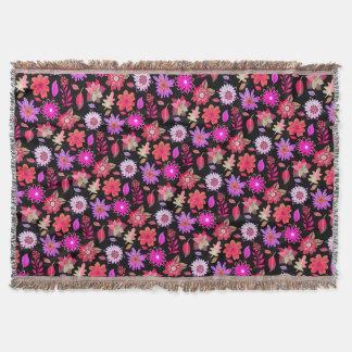 Cobertor Florido Preto Com Flores Lilás Primavera