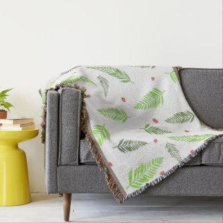 Cobertor Folhas e teste padrão tropicais da morango