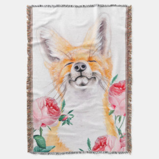 Cobertor Foxy feliz e rosas