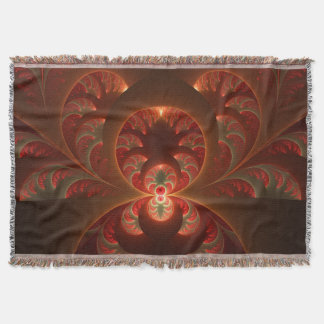 Cobertor Fractal moderno abstrato luminoso do vermelho