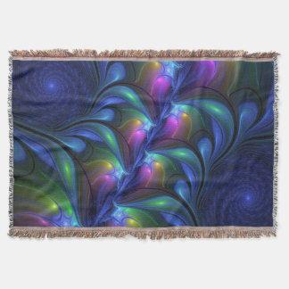 Cobertor Fractal verde cor-de-rosa azul abstrato luminoso