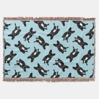 Cobertor Frenchie rajado bonito na arte digital preta &