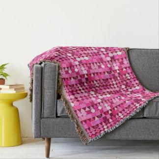 Cobertor Geométrico tribal moderno, Borgonha e rosa