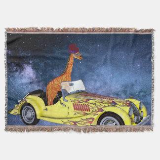 Cobertor Girafa na cobertura do lance do espaço