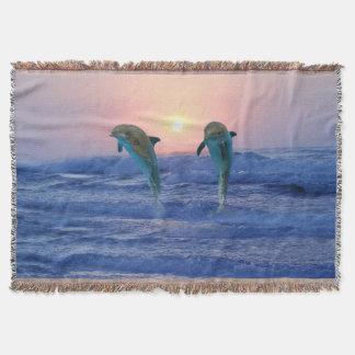 Cobertor Golfinho de Bottlenose no nascer do sol