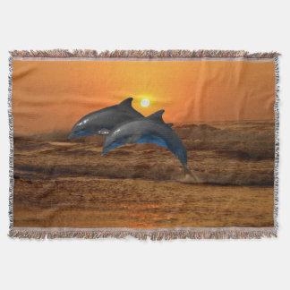 Cobertor Golfinho de Bottlenose no por do sol