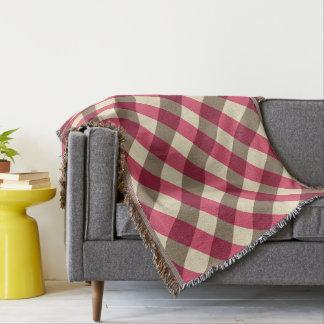 Cobertor Grandes verificação, Borgonha, creme e taupe do