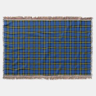 Cobertor Impressão azul brilhante da xadrez, listra amarela