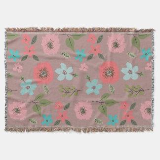 Cobertor Impressão floral ilustrado mão